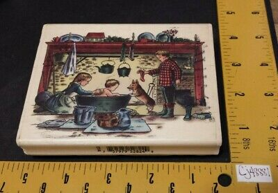 PSX Tasha Tudor Corgi Cottage Rubber Stamp K7214 Bath Children Dog Christmas