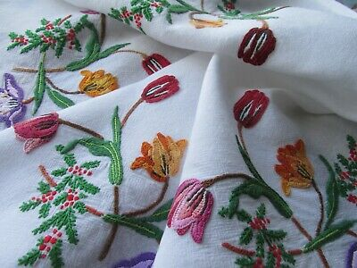 Vintage Hand Embroidered Tablecloth-BEAUTIFUL RAISED TULIPS, FOLIAGE & BERRIES
