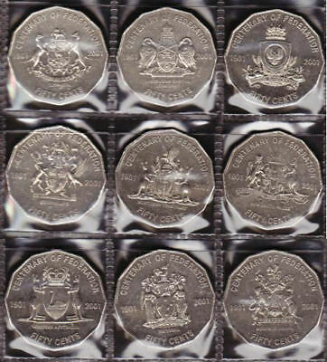 2001 Federation 9 x 50c CIRCULATED all states & terriroties.