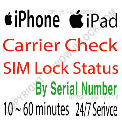 Apple iPhone iPad IMEI Carrier Network Check & SIM Lock Status by Serial Number