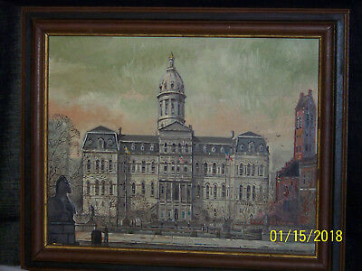 Frank Lovewell Baltimore MD Artist Original Oil Painting Baltimore City Hall