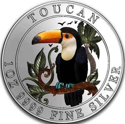 2018 1 Oz PROOF Silver $1 Niue Colorized TOUCAN Coin.