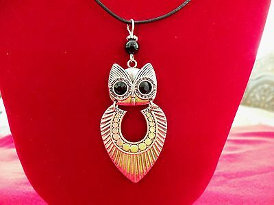 OWL NECKLACE Wizard Harry ONYX Gem Bird Pendant NEW HANDMADE ~Ships FREE to USA