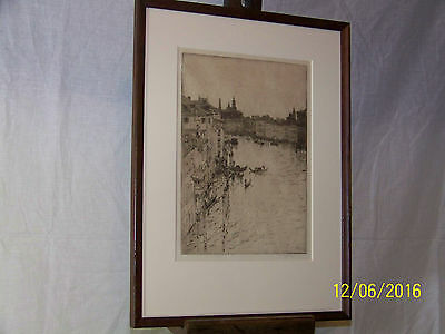 Robert Charles Goff Antique Original Etching of Venice-Grand Canal Signed/Dated