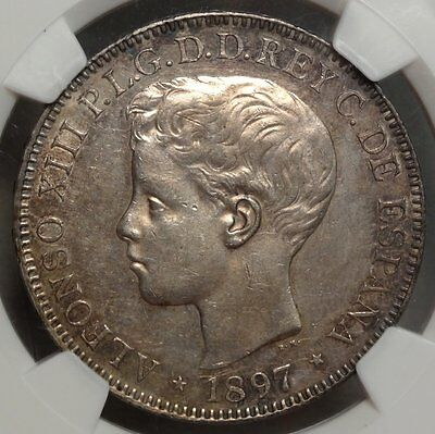 Spanish Philippines Peso 1897, Choice Almost Uncirculated, NGC AU-58, Original!