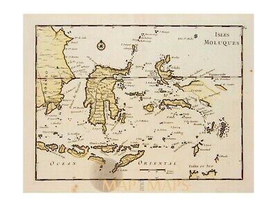 Indonesia Old Historic map of the Maluku Islands Le Rouge 1756