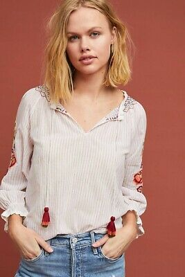 840459b21b823 NWT ANTHROPOLOGIE Rina Embroidered Peasant Top Velvet by Graham   Spencer  sz.