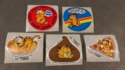 Original Vintage 1978 Garfield Stickers - Set of 5