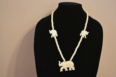 1950s HAND CARVED BOVINE BONE BEAD W/THREE ELEPHANT PENDANTS NECKLACE 25""