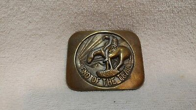 End Of The Trail Solid Brass Belt Buckle #3199 Good Condition