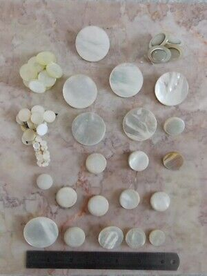 Collection 60 Antique Victorian Era Mother of Pearl Carved Disc Buttons ESTATE