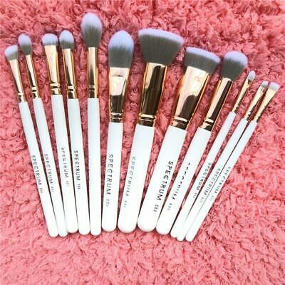 12 PCS Wood Handle Soft Nylon Bristles Powder Blush Eyeliner Lip Eyebrow Brushes