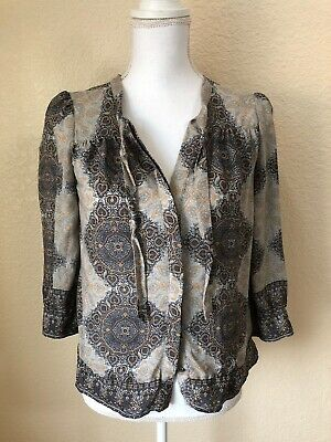 8ab06587804b9 JOIE MADERA TIE Neck Blouse Silk Gray Printed size M -  29.00
