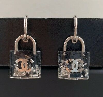 e03bb4ebd Chanel CC Logo Silver Tone Black Clear Resin Pearl Lock Padlock Drop  Earrings
