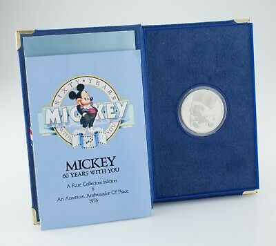 1998 Liberty Mint Mickey Mouse 1 Oz. .999 Fine Silver Round w/ Case and CoA