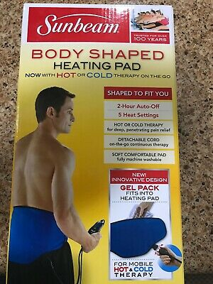 New Sunbeam Body Shaped Heating Pad w/ Hot & Cold Pack 5 Heat Settings Auto Off