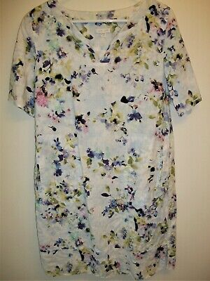 1d4e2bd103e J.Jill Love Linen Shift Dress Purple Floral Print Pockets Pullover Size PS