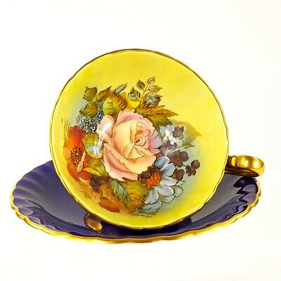 Aynsley Cabbage Rose Tea Cup & Saucer Signed J A Bailey Royal Blue Gold 1033
