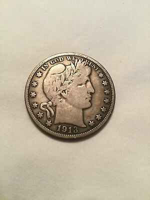 1913 Barber Half Dollar Almost Fine Hard Date And Great Value Scarce Barber!