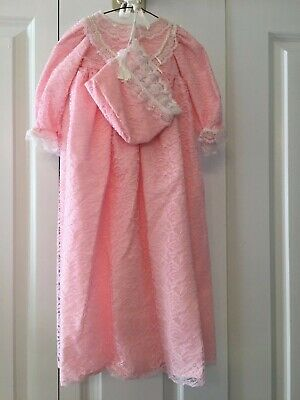 3 Pc Pink Cotton Gown Set Lace Overlay Faux Pearl Easter Bonnet Bloomers