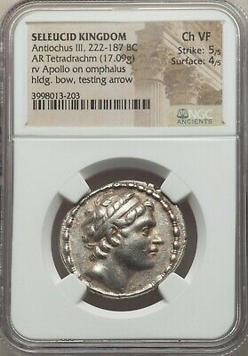 SELEUCID KINGDOM Antiochus III Antiochos the Great 222 BC AR Tetradrachm NGC 5+4
