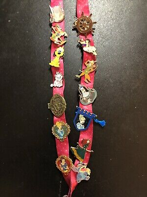 Disney Parks Trading Pin Lot Of 14 Lanyard Included Guaranteed 100% Authentic
