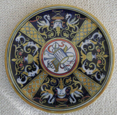 Italian Gubbio Style Majolica Charger/Plate with Musical Decoration - Andreoli?