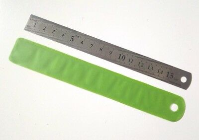 3pc stainless steel double sided metal ruler 15cm with holder width 1.8cm