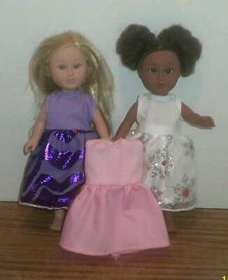 """6-7"""" Doll Clothes-fit Mini American Girl My Life-Lot of 3 Dresses-Purple+SPECIAL"""