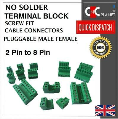 In-Line Cable Pluggable Non Solder PCB Screw Connector 5.08mm 2 3 4 5 6 7 8 PIN