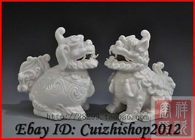 "6""Chinese Dehua White Porcelain Foo Fu Dog Lion Dragon Kylin Unicorn Statue Pair"