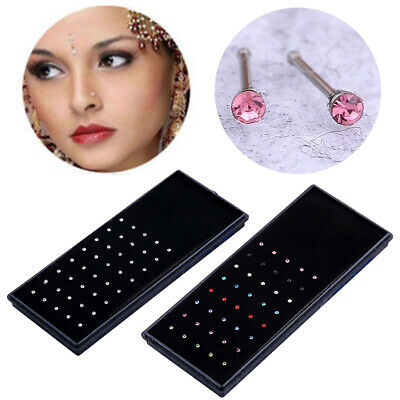Box of 60Pcs Women Crystal Rhinestone Nose Rings Body Piercing Bone Stud Jewelry