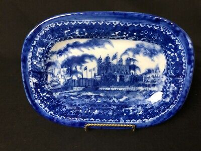 """Antique and Gorgeous Blue Flow 11&1/8"""" Platter Depicts Castle Water Boats& Flags"""