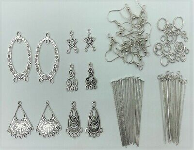 208 Piece Earring Jewellery Making Kit - Silver - New