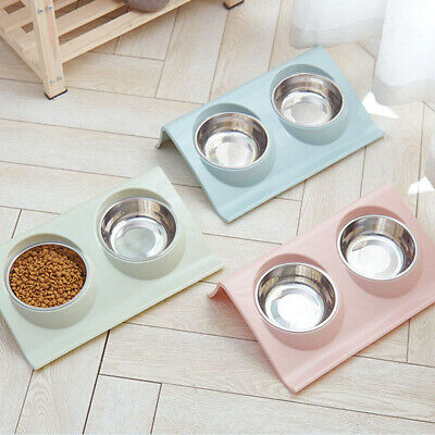 Pet Dog Cat Feeder Bowl Feed Food Water Dish Stainless Steel Dual Bowl Fashion