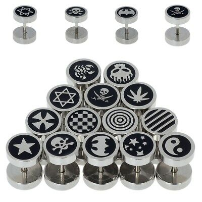 2Pcs Loes Style Stainless Steel Fake Cheater Men Ear Plug Earring Stud Stretcher