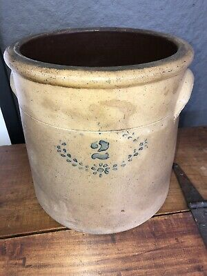 Very Old 2 Gallon Salt Glazed Crock With Handles And Blue Pattern