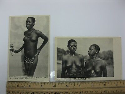 2 POSTCARDS ~ AFRICA NUDE WOMEN MOZAMBIQUE (Native Tribes