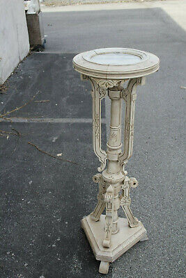Antique Victorian Hand Painted Carved Pedestal with a Round Marble Top