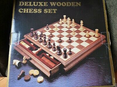 Deluxe Wooden Walnut Chess & Checkers Set