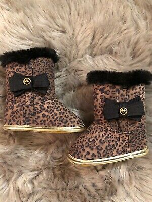 eff35c313ca5 Michael Kors Baby Baba Cheetah Print Faux Fur Lined Girls Boots Sz 2 NWOT