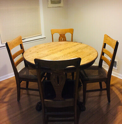 Antique Tiger Oak Pedestal Dining Table  and 4 chairs   claw foot  42 inch