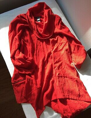 0fc76455d83 Ali Miles Cowl Neck Rayon Blend Crinkle Tunic Top Red Asymmetrical  Lagenlook EUC