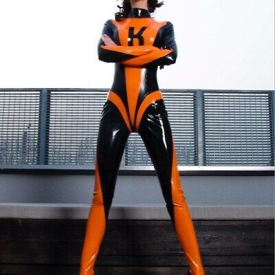 Latexanzug Catsuit Uniform Zentai Kostüm Latex Gummi Orange/Black 0.4mm S-XXL