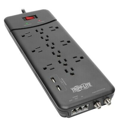 New Tripp Lite Protect It! 12-outlet Surge Protector With 2 Usb Ports, 8ft C