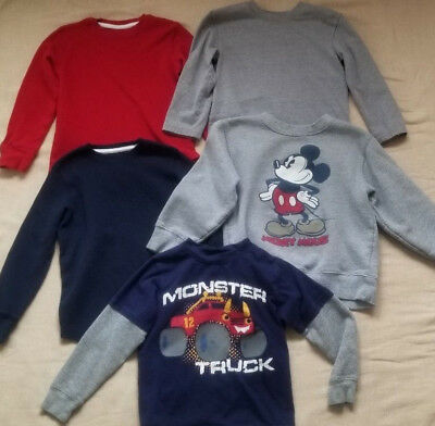 Lot Of 5 Size 5 Boy's Shirts - Mickey, Monster Truck & Solids