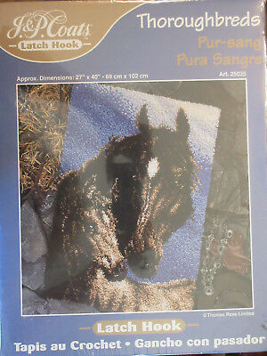 J & P Coats Thoroughbreds Latch Hook Kit New Sealed In Box Horse & Foal  Rare
