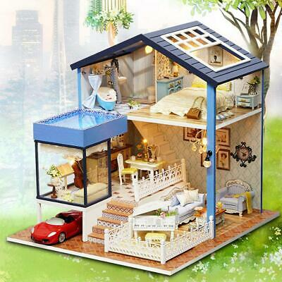 Kids Doll Miniature Dollhouse DIY Mini House Kit with Led Lights and Furniture