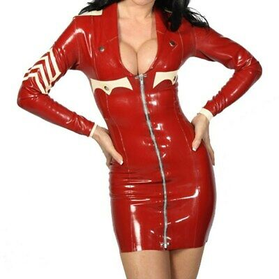 Latex Gummi Dress kleidRot Cosplay Nurse Kostüm Latexanzug Lady Uniform S-XXL