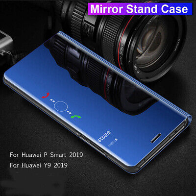 360° Flip Wallet Clear View Mirror Case for Huawei P Smart Y9 2019 P30 Pro Cover